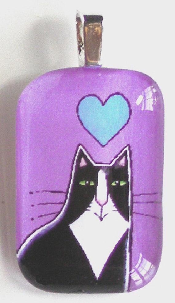 Tuxedo Cat Glass Pendant SALE/ Lavender Violet with Blue Heart