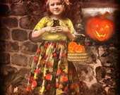 Halloween Philomene Black Cats Pumpkin Instant downloads- Altered French Postcard - Antique Photo Scaned image DH006