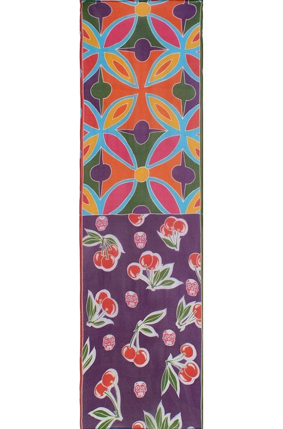 Silk Scarf Handpainted, Cherry scarf, Skull scarf, Graphic scarf, Colorful scarf, Chiffon silk scarf, Unique scarf, Girlfriend gift