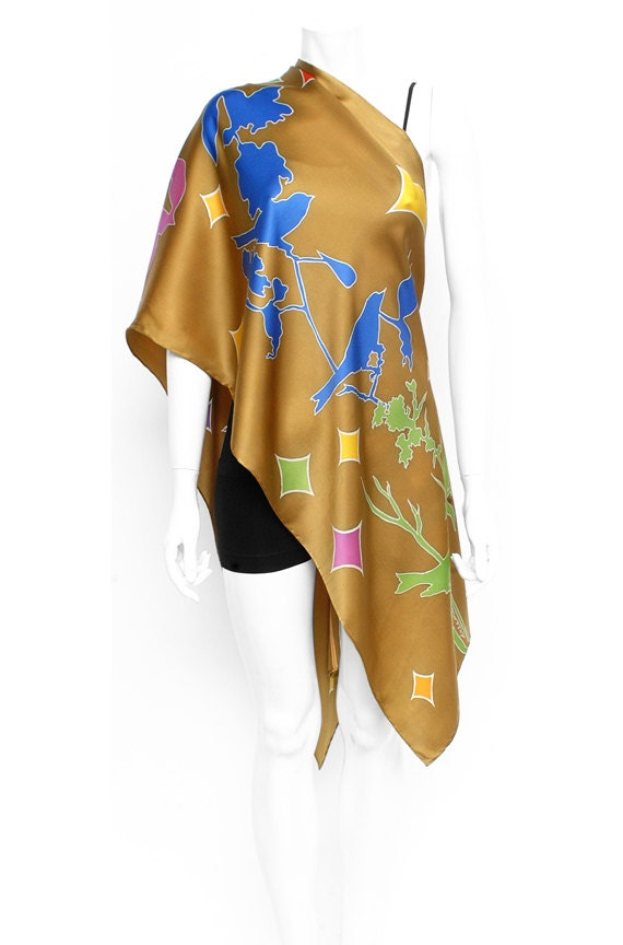 Bird scarf, Branch scarf, Gold scarf, Batik scarf, Handmade silk scarf, Colorful scarf, Silk scarves for women, Cute gifts for girlfriend