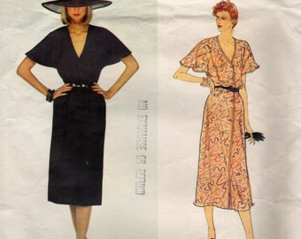 Vogue   2170   Paris Original Givenchy Sewing Pattern Dress Flutter Sleeves Front Buttons Size 8
