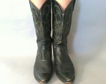 size 9, vintage 1980s Green & Black Snakeskin Cowboy Boots -  Dan Post