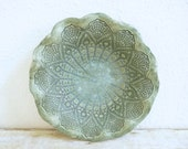 Lace Doily Bowl Handcrafted Pottery Ceramic Lace Bowl Serving Dish Vintage Lace Tatting Design Green