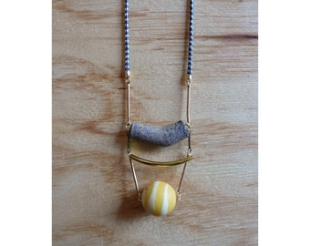Long modern corded necklace with vintage art glass bead bib