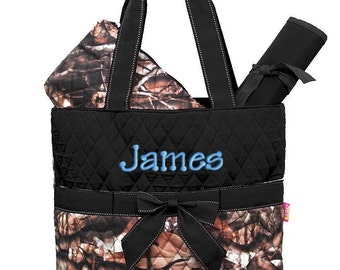 Diaper Bag Personalized Camouflage Natural Camo Black Quilted Monogrammed