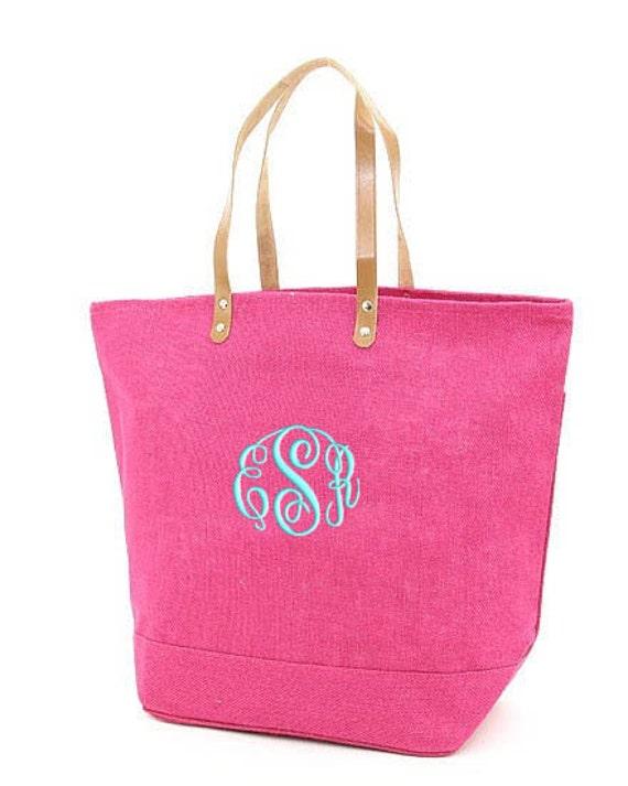 Personalized Tote Bag Jute Hot Pink Burlap Large Monogrammed Wedding Bridesmaid