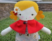 SALE Big Sister Sprinkles Blonde Hair Handmade Rag Doll with Removable Capelet (lil red riding hood print)