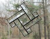 Stained Glass Suncatcher, Beveled Pinwheel Geometric