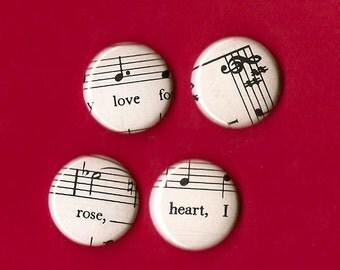 Sheet Music Magnets / Pinback Music Buttons / Music Wedding / Music Gift Bag / Music Teacher Gift