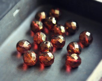 Roasted Rhubarb - Czech Glass Beads, Red, Brown, Pink, Metallic Gold Picasso Luster, Firepolish, Facet Rounds 12mm - Pc 4