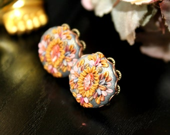 Peach Pink Grey Gold Silver - Clay Floral Stud earrings with swarowski crystal , Polymer clay in brass filigree -  Glorious Days in Jaipur