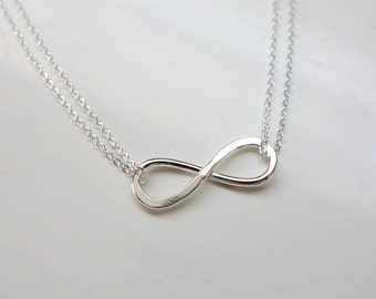 Sterling Silver Infinity Necklace / Double Strand Chain Necklace / Love you Forever And Always