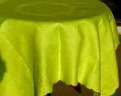 Vintage Tablecloth Double Damask LIME Pure Linen