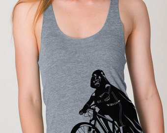 Darth Vader is Riding It - Womens Tank Top printed with ECO ink ( Star Wars Darth Vader bike tank )
