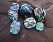 SALE. Coordinated Set Dichroic Glass Cabochons. Teal Blue Green Pink. Set-37