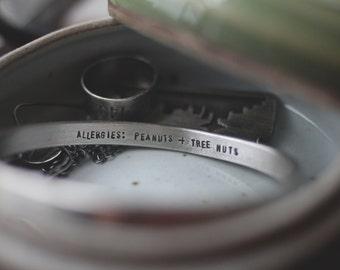 heavy personalized sterling silver (custom medical bracelet) - bangle bracelet