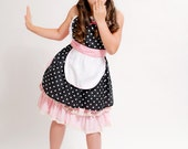 apron for kids RETRO apron in black and pink POLKA DOT childrens full apron birthday kids gift 50s inspired