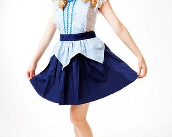retro apron AURORA Sleeping Beauty  inspired BLUE Aurora  APRON womens full costume apron