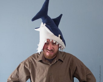 Fleece Shark Hat - Dark Blue