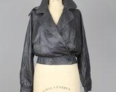 Italian leather bomber jacket | black leather moto jacket | vintage black leather jacket | s-m