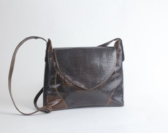Vintage 1960s Embossed Lizard Handbag | Embossed Leather Structured Purse