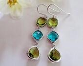 Teal Blue Clear Glass, Long Dangle Earrings, GreenGlass, Three Stone Earrings, Silver Edged Stones, Elegant, Bridal, Bridesmaids