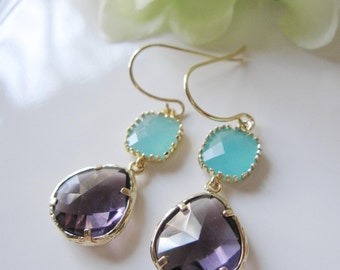 Purple Earrings, Aqua Drops, Gold Edging, Two Stones, Wedding Jewelry, Bridesmaid Earrings
