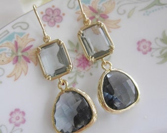 Gray Dangle Earrings, Two Tier, Gold Edged Glass, 14k Gold Earwire, Gray Glass Gem, Bridesmaid Earrings, Wedding Jewelry