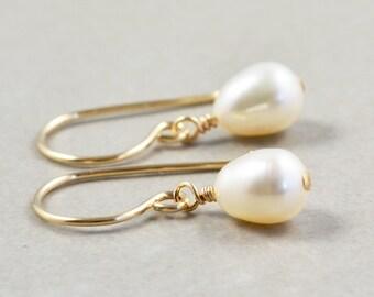 Pearl Earrings, June Birthstone Jewelry, White Pearl Earrings, Handmade