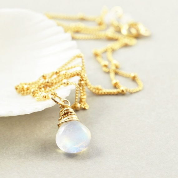 Moonstone Necklace, June Birthstone Jewelry, White Necklace, Bridesmaid Gift