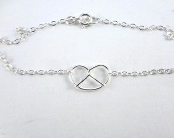 Silver Pretzel Necklace by Sarah Cecelia Jewelry