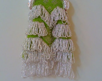Green Apple and Silver Bead Knitted Bag