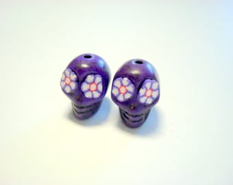 Purple Flower Eyes in Day of The Dead Sugar Skull Beads-12mm