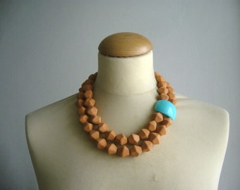 Orange statement necklace, chunky necklace