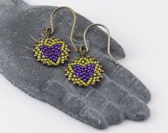Beadwoven Heart Mandala Earrings ( purple / lime green ) - - - niobium (hypoallergenic) earrings/ Earthy/ Unique/ Happy/ Simple/ Lightweight