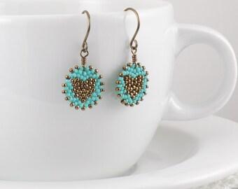 Beadwoven Heart Mandala Earrings ( antique brass / turquoise ) - - - niobium (hypoallergenic) earrings  / Affordable Gift Under 25 Dollars