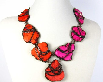 Turquoise statement necklace, pink statement necklace, statement necklace, pink and orange, fashion jewelry, bold necklace