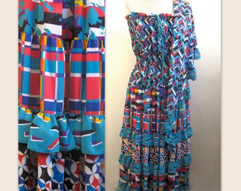 Vintage 80s Bohemian Dress with Matching Shawl S M by Diane Fres