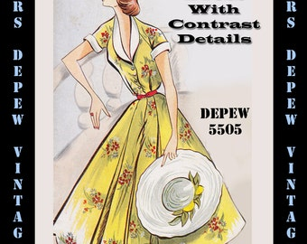 Vintage Sewing Pattern 1950's Dress with Full Skirt in Any Size - PLUS Size Included - Depew 5505 -INSTANT DOWNLOAD-