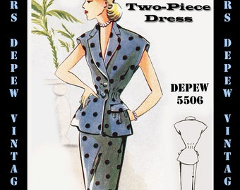 Vintage Sewing Pattern 1950's Two-Piece Dress in Any Size - PLUS Size Included - Depew 5506 -INSTANT DOWNLOAD-