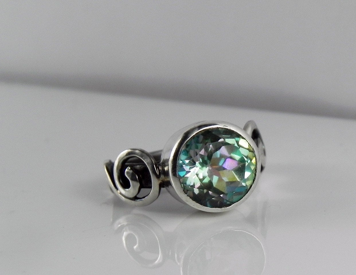 mystic topaz engagement ring unique alternative wedding ring