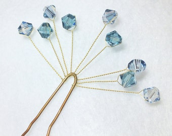 Blue Crystal Bobby Pins -  Pair of Elegant Swarovski Spray Bridal Hair Pin -- Wedding Hair Accessory