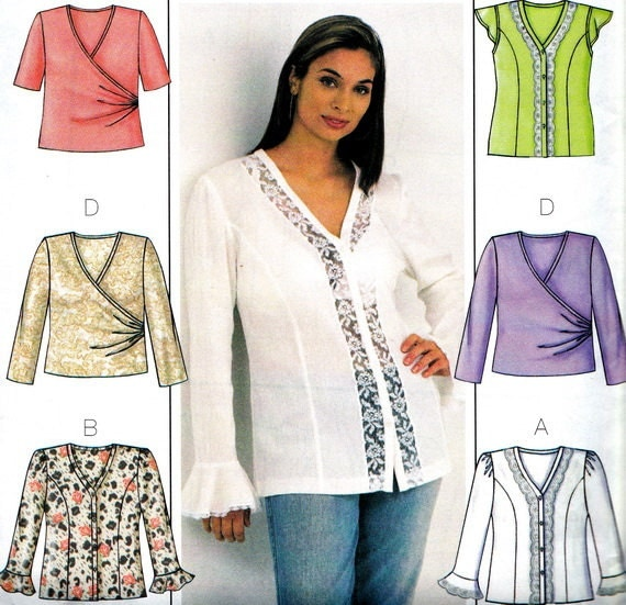 Creative McCalls M6035 MIsses Blouse Sewing Pattern Womens By ZipZapKap