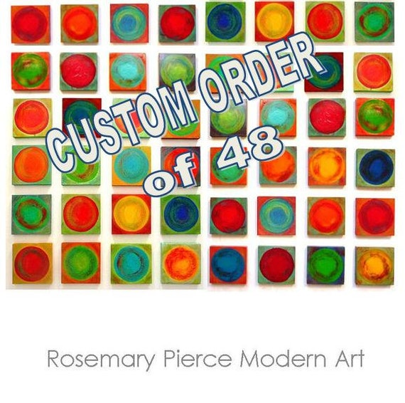 CUSTOM ART - Original Abstract Art - 48 piece Modern Geometric Circle Wood Wall Art Blocks - by Rosemary Pierce SKU#DC33001