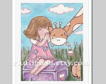 Nursery art print, baby girl nursery decor, safari animals, kids wall art, children decor, cupcake giraffe Please Keep My Secret 8x10 print