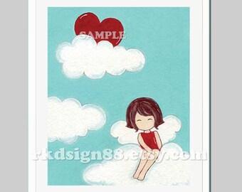 Girls wall art, baby girl nursery art, kids art print, children decor, cloud, brown hair, red heart, Love Is My Sun 8x10
