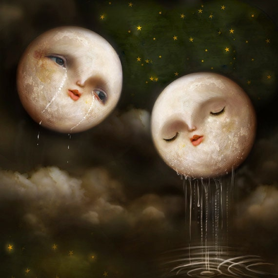 You At Last 8X8 Print - moon art, romantic moon painting, anthropomorphic moon, emotional moon artwork - by Meluseena