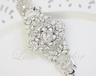 Wedding Bracelet Cuff Wedding Jewelry Crystal Cuff Bracelet Wide cuff Bracelet Bridal Statement Bracelet Bridal Jewelry MAJESTIC