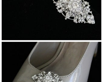 Bridal Shoe Clips Wedding Shoe Clips Vintage Wedding  Accessories Pearl Rhinestone Filigree Shoe clips  MARCELLA