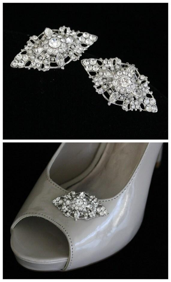 Bridal Shoe Clips Wedding Shoe Clips Vintage Wedding  Accessories Pearl Rhinestone Filigree Shoe clips  MARCELLA
